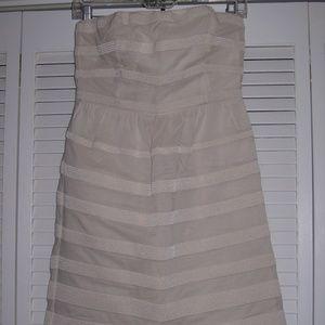 J.CREW Strapless Rugby Stripe Ginny DRESS *Ivory*
